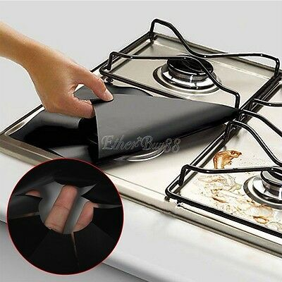 4x Foil Gas Hob Oil Protector Liner Reusable Stove Clean Tool Mat Pad PTEE Cover