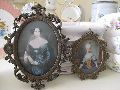 Two Lovely Vintage Ornate Framed Ladies On Silk - Made in Italy