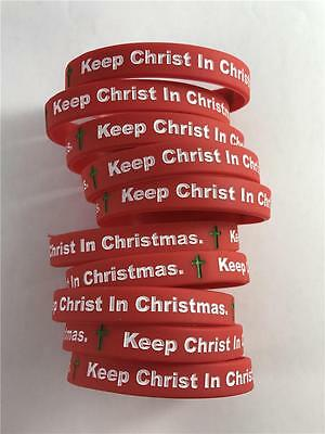 NEW Lot of 10 Keep Christ In Christmas Red Christian Wristband Bracelet Silicone