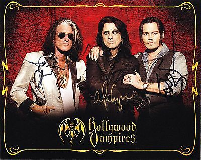 Hollywood Vampires Hand-Signed Autographed Photo - 2016 Tour Depp Cooper Perry