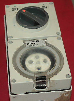 Clipsal 3 Phase Power Outlet, 5 Pin, 20 Amp with Switch.