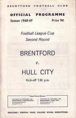 BRENTFORD v HULL CITY 1968/69 LEAGUE CUP