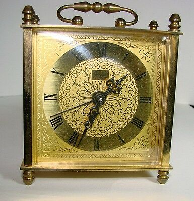 Vintage Jerger Miniature Brass Alarm Carriage  Clock - Germany Pre 1939