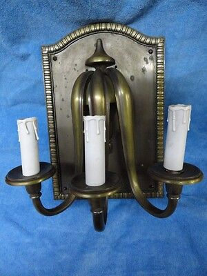 Large HEAVY Antique solid brass triple wall sconce