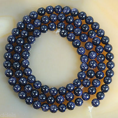 New Pure Natural Blue Sand Spot Round Gemstone Loose Spacer Beads 4 6 8 10 12MM