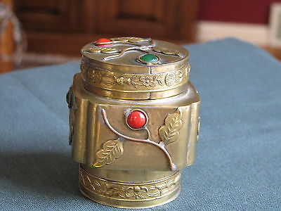 Antique Chinese Export Brass Tea Caddy with Red & Green Jade Insets
