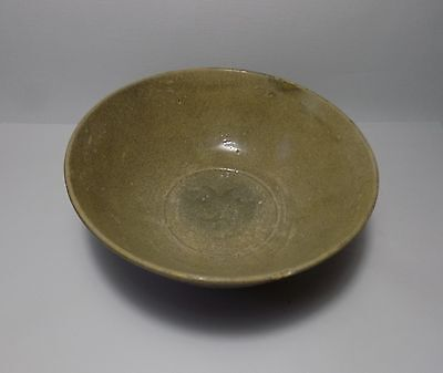 Chinese Antique Early Pottery Bowl Celadon Impressed Floral Motif