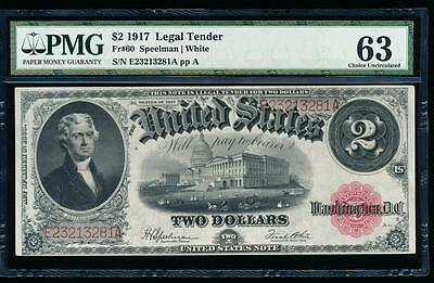 AC Fr 60 1917 $2 Legal Tender PMG 63 uncirculated !!