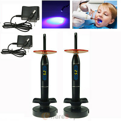 2Pcs NEW Dental 10W Wireless Cordless LED Curing Light Lamp 2000mw US SHIP