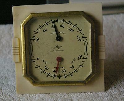 Small Desktop Vintage Taylor Humidiguide / Temperature Guide Brass Stand