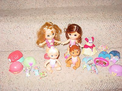 Fisher Price Snap & Style Dolls 2 Little Girls & 2 Babies Plus Fashions