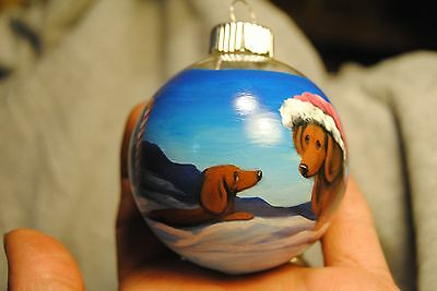 Original Painting~Dachshund~Dog s~Christmas Ornament~Hand Painted~Candy Cane