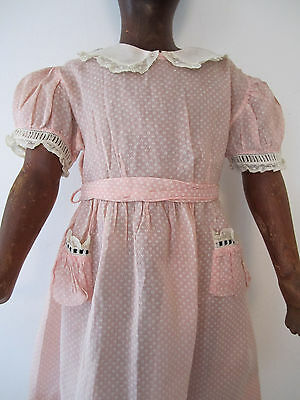 Antique Vintage Doll Childs Dress Print Lace Cotton Marshall Field's 1930's ?