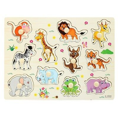 Hot Zoo Animals Wooden Jigsaw Children Kids Baby Learning Educational Puzzle Toy