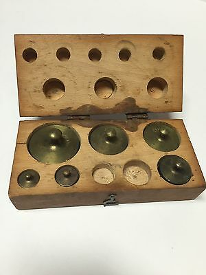 Vintage brass calibration weights - incomplete set
