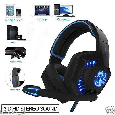 3.5mm Stereo Gaming Headset LED Light Earphone Headphone With Microphone for PC