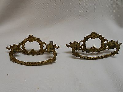 set of 2 antique brass intricate fancy furniture drawer pulls swing handle style