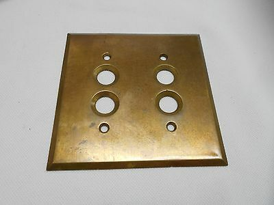 Vintage Old Brass Antique Double Push Button Light Switch Wall Plate Cover