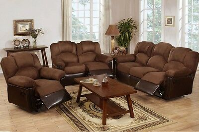 3Pcs Chocolate Microfiber Motion Living Room Set Reclining