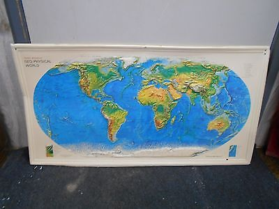 "Rand McNally Geo Physical 3-D Satellite Relief Map Of The WORLD MAP 38"" by 20"""