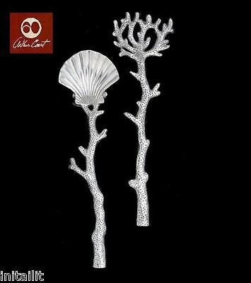 New In Box Arthur Court Coastal Shell Coral Salad Servers Tongs Freeship Genuine