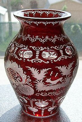 EGERMANN Czechoslovakia RUBY RED CUT TO CLEAR VASE Black Forest, Stag, Castle