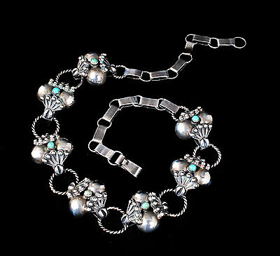 vintage Taxco Mexican silver Necklace Taxco cocos with turquoise sterling 925