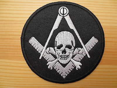 Masonic Embroidery Patches Square & Compasses Skull Iron on 3 inch Freemason P3