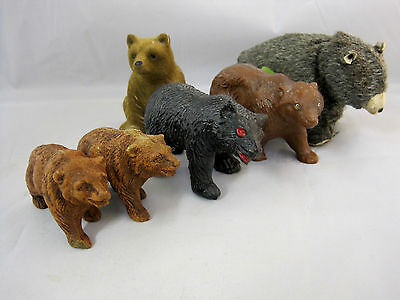 Brown Bears Assorted Collection 2 Ceramic -3 Plastic - 1 Metal Vintage Toy