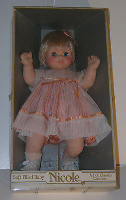"""Vintage UNEEDA Doll Classic Creation NICOLE Soft Filled Baby Girl Doll 22"""" Tall"""