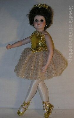 "Porcelain Ballerina Girl Doll Repro Maddie Louise Doll 14.75"" Tall Poseable"