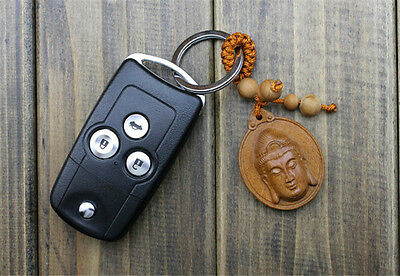 Wood Carving Chinese Kwan Yin Head Statue Sculpture Amulet Pendant Key Chain