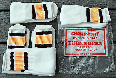 Vintage 70's 80's Terry Lined Striped Tube Socks sz 9 10 11 12 13 14 15 ( 5 PAIR