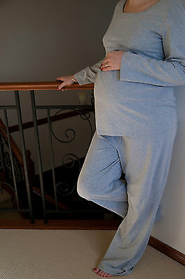 Maternity Breastfeeding Winter Comfy PJs Top Pants Grey/Olive Small or Size 8-10