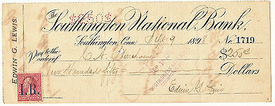 1898 Southington (Connecticut) National Bank check w/ revenue stamp variety 1