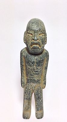 Pre Columbian Style (Modern) Olmec Standing Figurine, Sculpted On Serpentine.