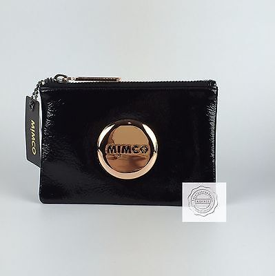 FREE POST MIMCO MIM POUCH BLACK ROSE GOLD Small Wallet Patent Leather BNWT