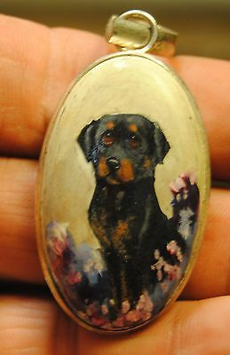 Original Painting~~~~Rottweiler~tiny Dog~Pendant~miniature Portrait~hand Painted