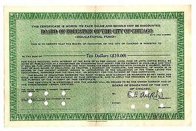 BOARD OF EDUCATION OF THE CITY OF CHICAGO stock certificate
