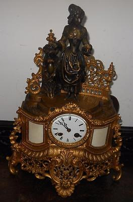 pretty french brass and bronze figural mantel clock c1880s