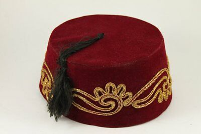 Vintage Red FEZ Embroidered Ottoman Hat With Tassle