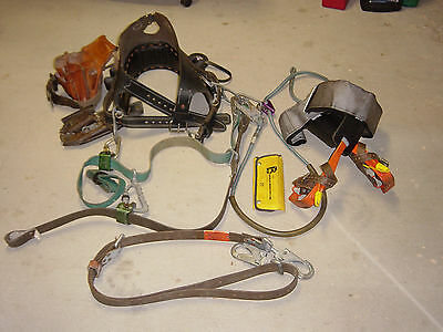 utility lineman climbing belt, hooks, straps, and tool pouch