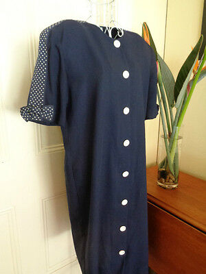 VINTAGE 1980's BLUE DRESS BY MARK SHAW WITH BOW TRIMS