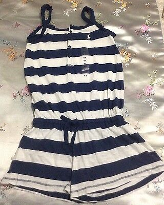 Ralph Lauren Polo Girls Striped Romper One Piece Size 6X White/Blue NWT
