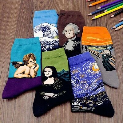 Retro Vintage Unisex Women Men Modern Famous Art Painting Funny Novelty Socks