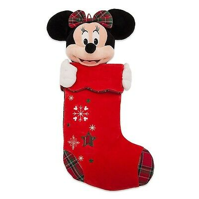 New Disney Store Minnie Mouse Plush Red Christmas Holiday Stocking