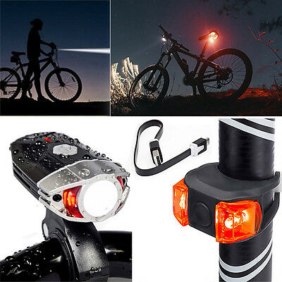 Bike Cycling USB Rechargeable Bicycle Head Front Light Lamp + Safety Rear Light