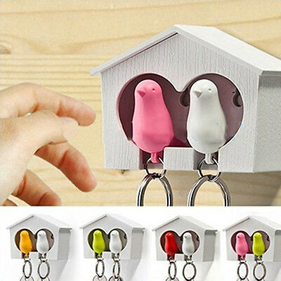 Sweet Lover Sparrow Key Ring Birdhouse Keychain Gadget Home Wall Hook Holder UK