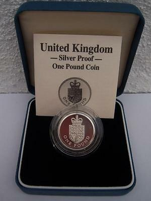 Great Britain 1988 Silver One Pound £1 Crest Proof Coin, Case and COA