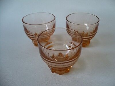 3 Vintage French Art Deco Peach Pink Liquer Glasses